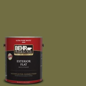 BEHR Premium Plus 1-gal. #M340-7 Classic Avocado Flat Exterior Paint - 430001